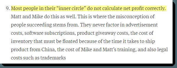 Do Not Calculate Profit