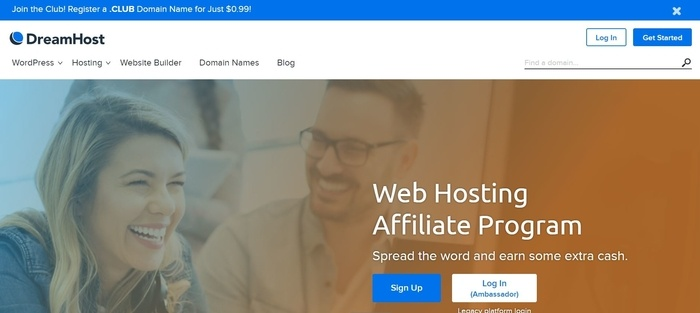 screenshot of the affiliate sign up page for DreamHost
