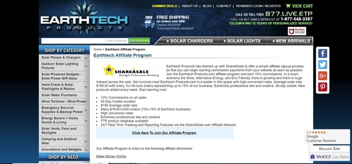 screenshot of the affiliate sign up page for Earthtech Products