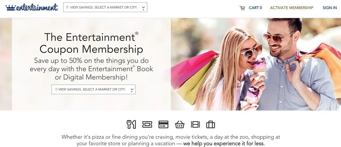 screenshot of the affiliate sign up page for Entertainment