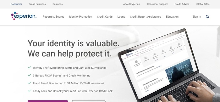 screenshot of the affiliate sign up page for Experian