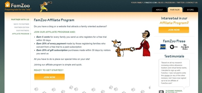 screenshot of the affiliate sign up page for FamZoo