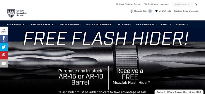 screenshot of the affiliate sign up page for Faxon Firearms