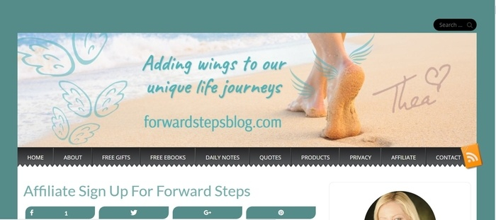 screenshot of the affiliate sign up page for Forward Steps
