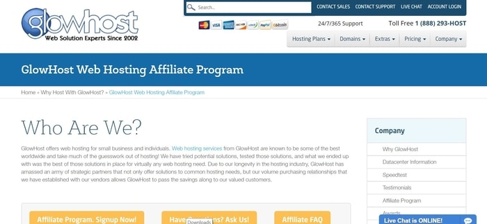 screenshot of the affiliate sign up page for GlowHost