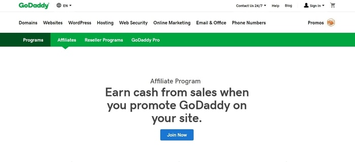 screenshot of the affiliate sign up page for GoDaddy