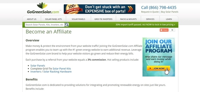 screenshot of the affiliate sign up page for GoGreenSolar