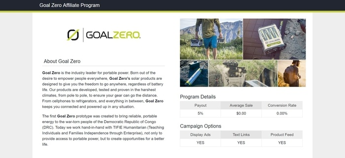 screenshot of the affiliate sign up page for Goal Zero