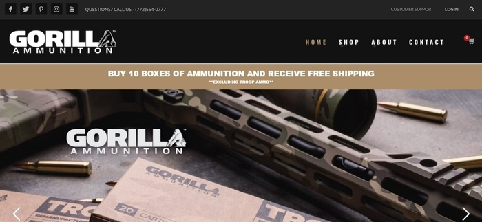 screenshot of the affiliate sign up page for Gorilla Ammunition