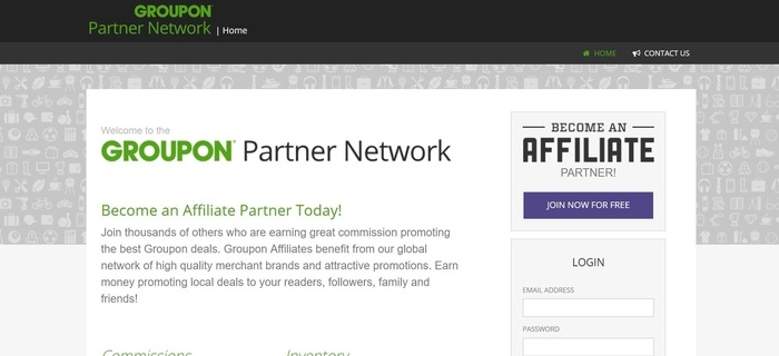 screenshot of the affiliate sign up page for Groupon