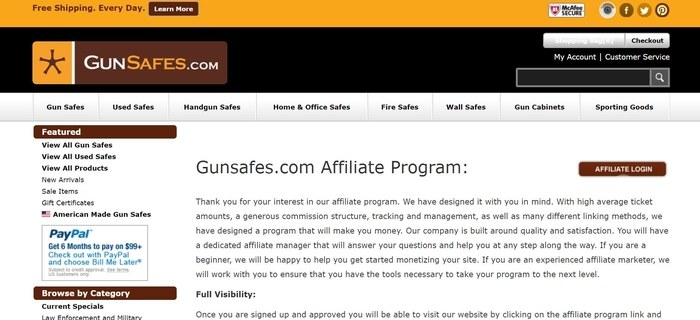 screenshot of the affiliate sign up page for GunSafes