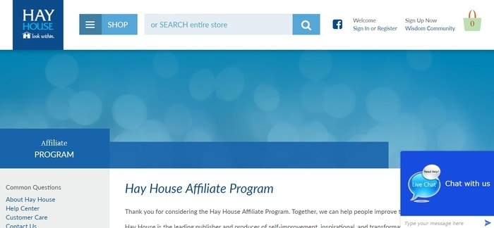 screenshot of the affiliate sign up page for Hay House