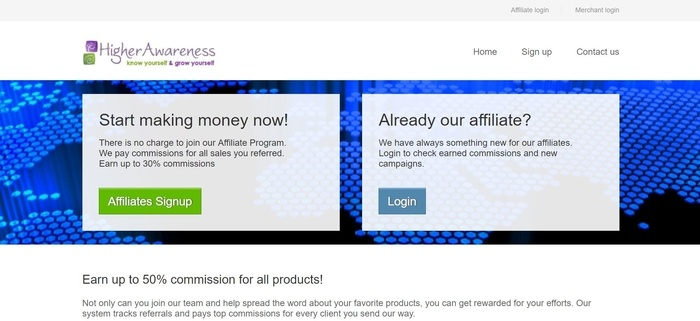 screenshot of the affiliate sign up page for Higher Awareness