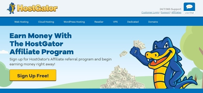 screenshot of the affiliate sign up page for HostGator