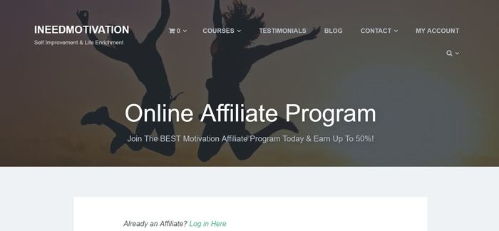 screenshot of the affiliate sign up page for INeedMotivation
