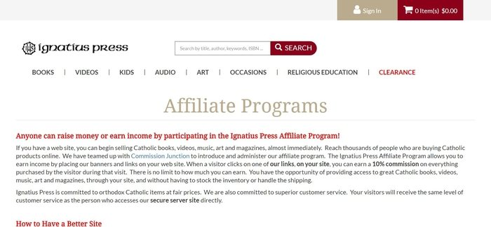 screenshot of the affiliate sign up page for Ignatius Press