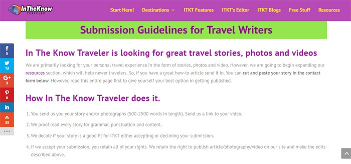 InTheKnowTraveler Writer Guidelines