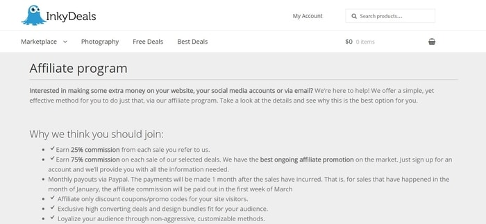 screenshot of the affiliate sign up page for InkyDeals