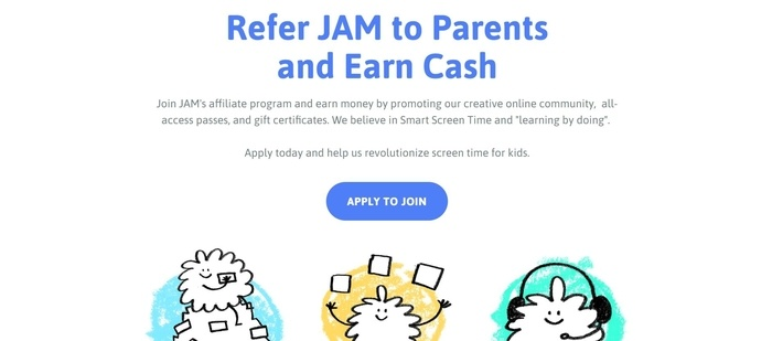 screenshot of the affiliate sign up page for JAM