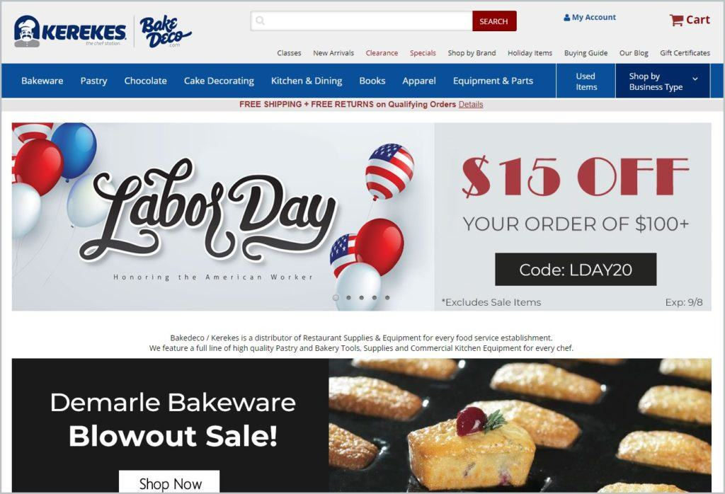 screenshot of Kerekes Kitchen And Restaurant Supplies' homepage