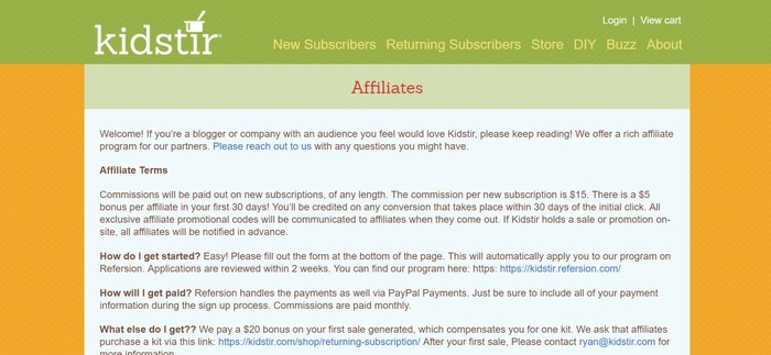 screenshot of the affiliate sign up page for Kidstir