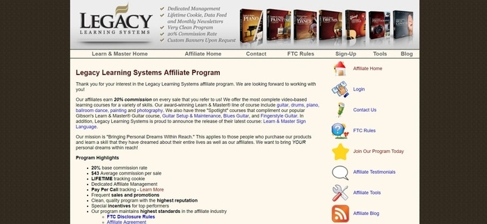 screenshot of the affiliate sign up page for Legacy Learning Systems
