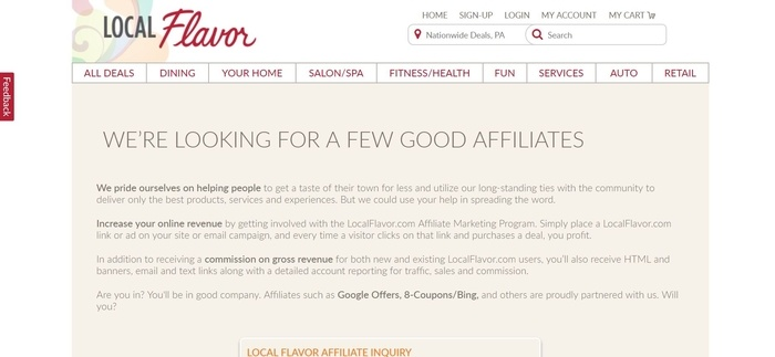 screenshot of the affiliate sign up page for LocalFlavor