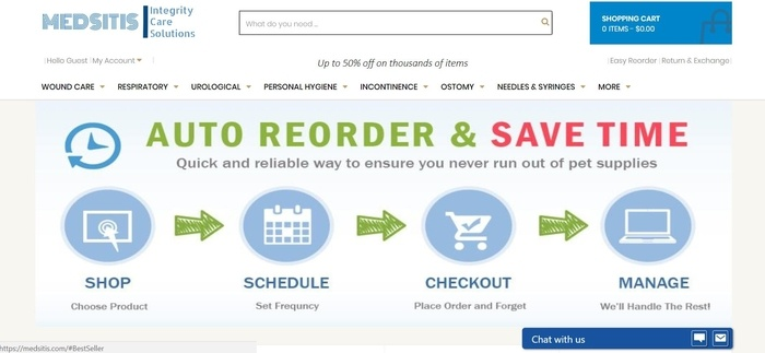 screenshot of the affiliate sign up page for Medsitis Medical Supplies