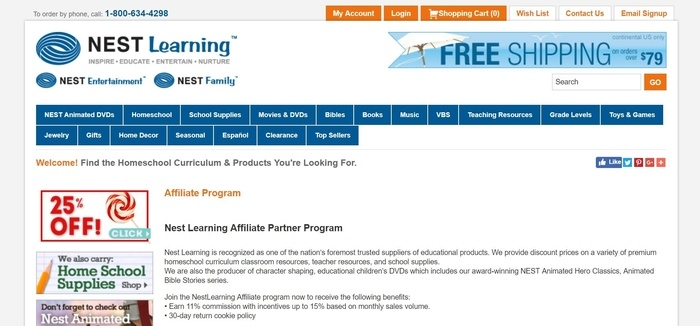 screenshot of the affiliate sign up page for Nest Learning