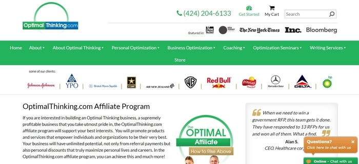 screenshot of the affiliate sign up page for Optimal Thinking