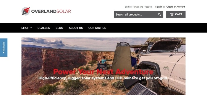 screenshot of the affiliate sign up page for Overland Solar