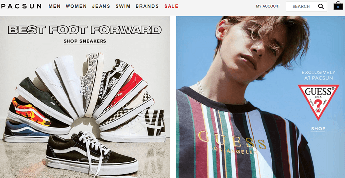screenshot of the PacSun Home Page