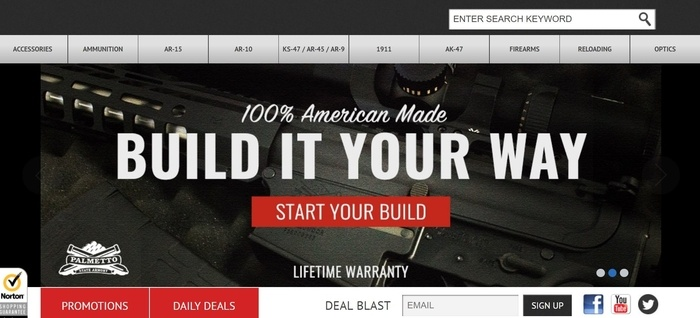 screenshot of the affiliate sign up page for Palmetto State Armory