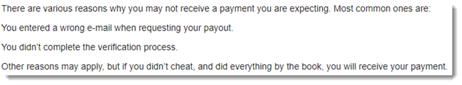 Payment Not Recieved