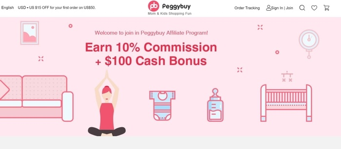 screenshot of the affiliate sign up page for Peggybuy