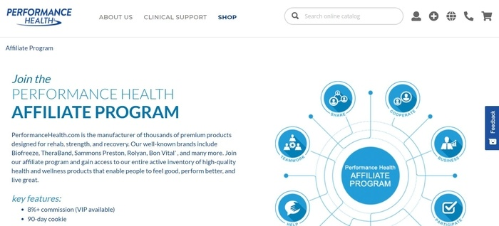 screenshot of the affiliate sign up page for Performance Health