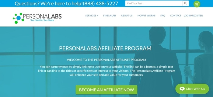 screenshot of the affiliate sign up page for Personalabs