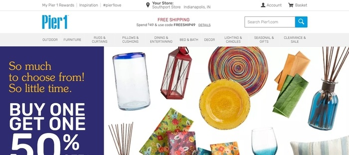 screenshot of the affiliate sign up page for Pier 1 Imports