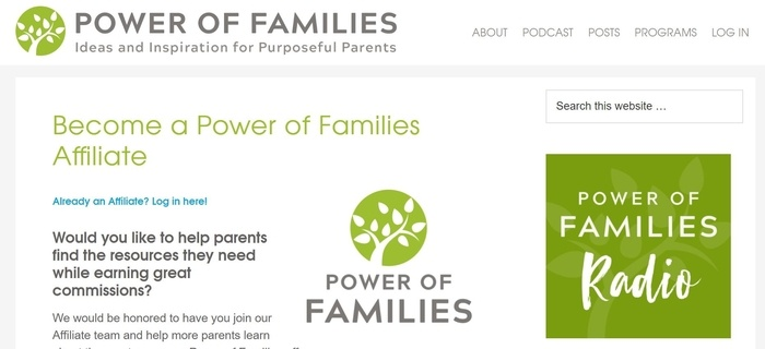 screenshot of the affiliate sign up page for Power of Families