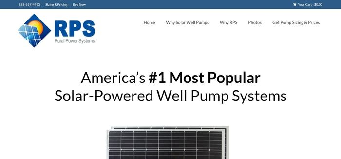 screenshot of the affiliate sign up page for RPS Solar Pumps