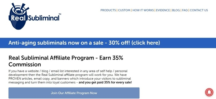 screenshot of the affiliate sign up page for Real Subliminal