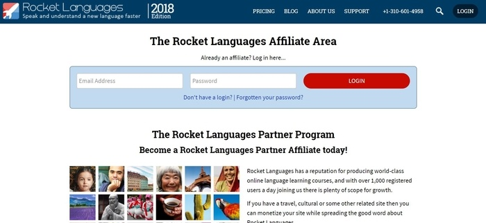 screenshot of the affiliate sign up page for Rocket Languages