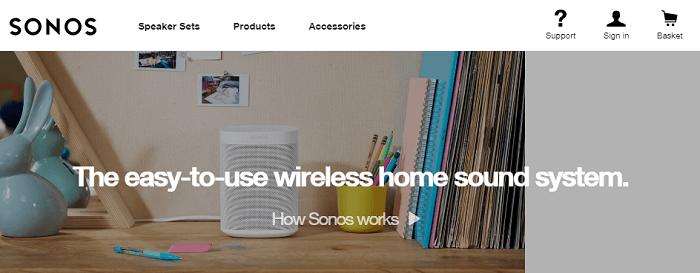screenshot of Sonos affiliate program Home Page