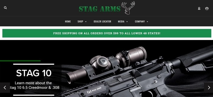 screenshot of the affiliate sign up page for Stag Arms