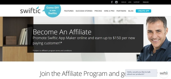 screenshot of the affiliate sign up page for Swiftic