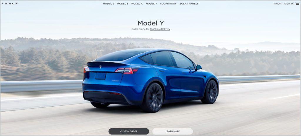 screenshot of Tesla homepage