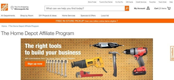 screenshot of the affiliate sign up page for The Home Depot