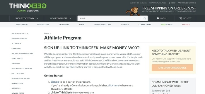screenshot of the affiliate sign up page for ThinkGeek