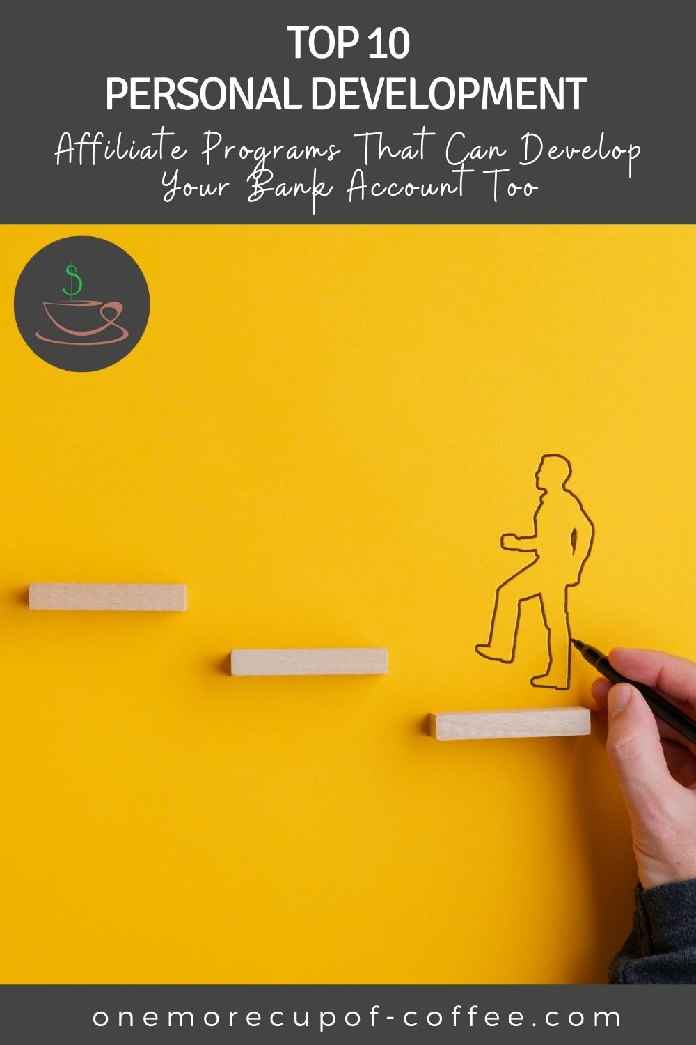 """hand drawing a line drawing of a man ascending a wooden ladder against a yellow background; with text at the top """"Top 10 Personal Development Affiliate Programs That Can Develop Your Bank Account Too"""""""