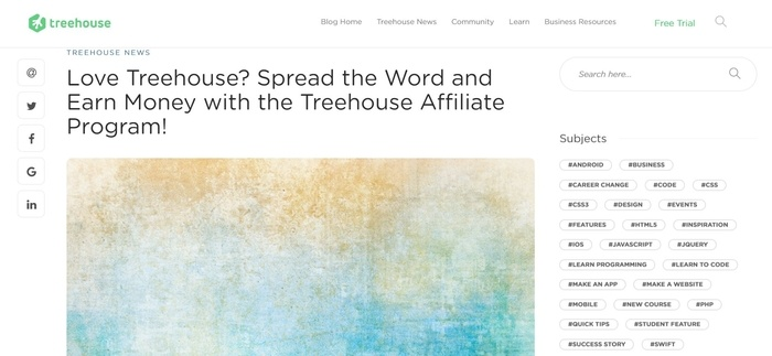 screenshot of the affiliate sign up page for Treehouse